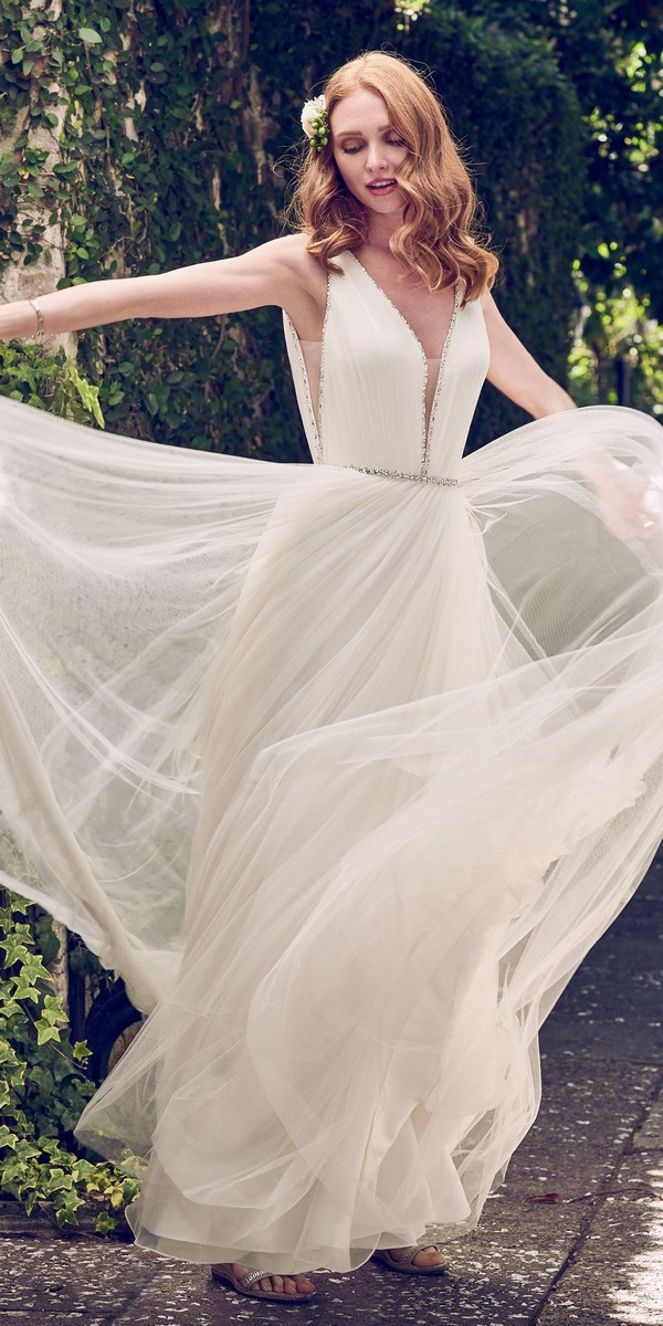 Maggie Sottero v neck tulle wedding dress