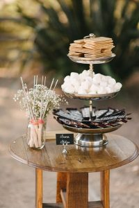 S'mores Bar themed wedding dessert display ideas