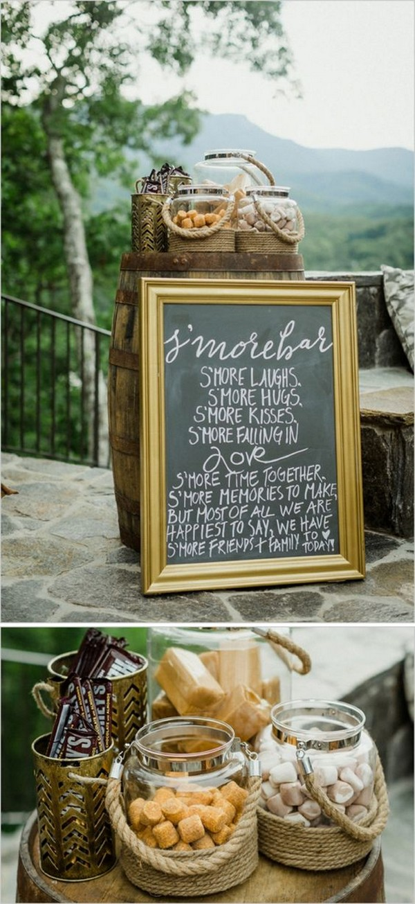 S'mores Bar wedding reception decoration ideas with chalkboard sign