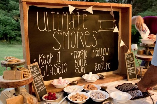 S'mores station for backyard wedding ideas