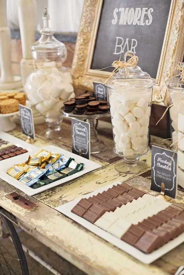 S'mores themed wedding dessert table decoration ideas
