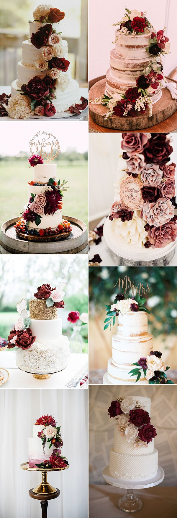 amazing burgundy wedding cakes with floral