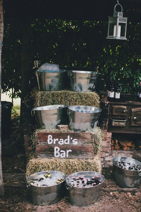 backyard hay bale wedding bar station ideas
