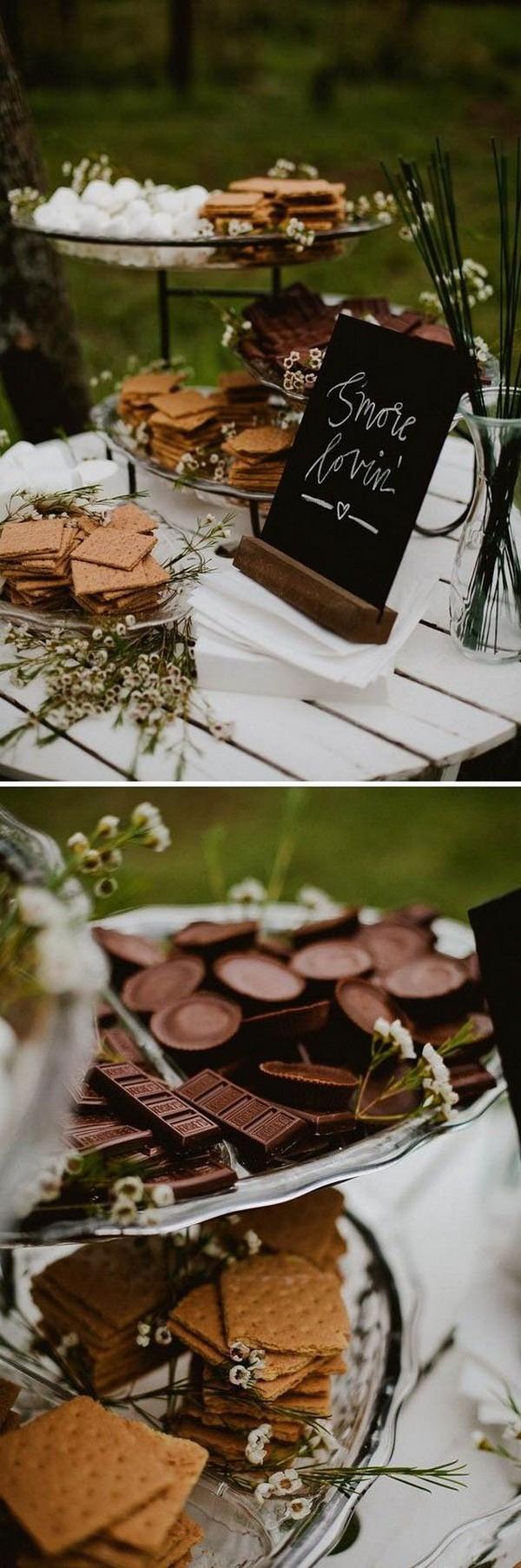 boho chic S'more bar wedding dessert display ideas