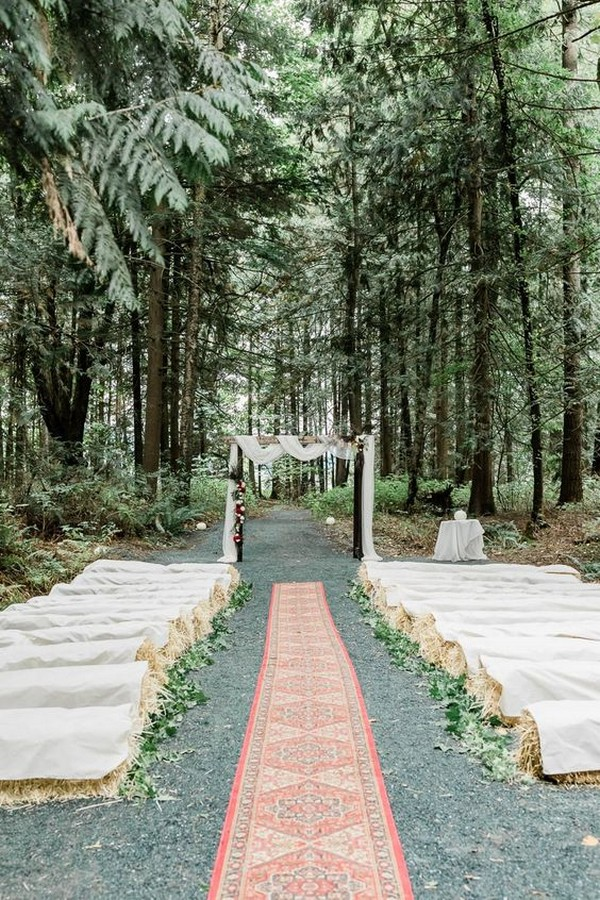 boho chic outdoor wedding ceremony with bay hale seatings