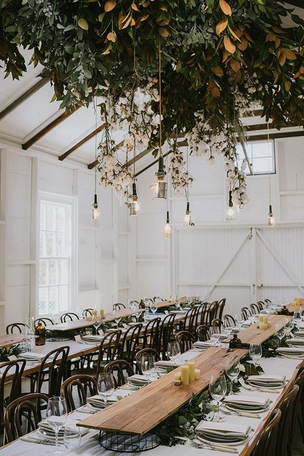 boho chic wedding reception ideas with hanging floral