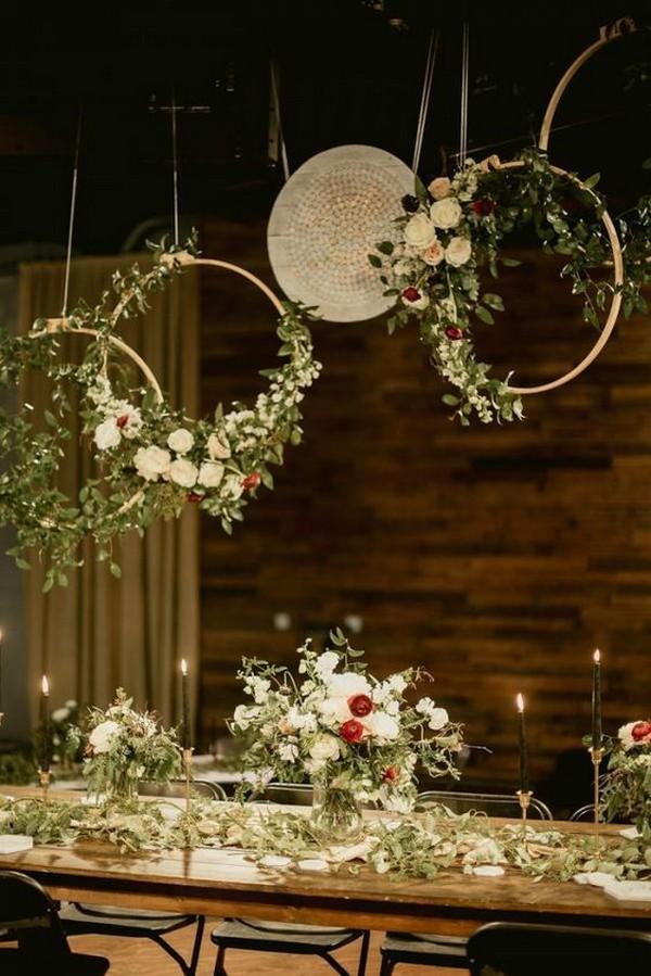 boho hanging flower crown wedding reception decoration ideas