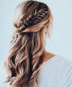 braids half up half down wedding hairstyle