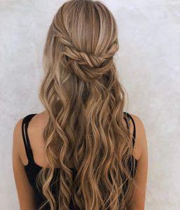 braids wedding hairstyle half up half down