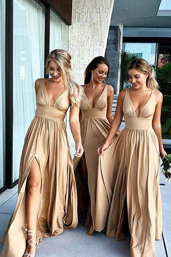 Women Formal V Neck Split Empire Waist Dress 2021 Long Backless Open Back