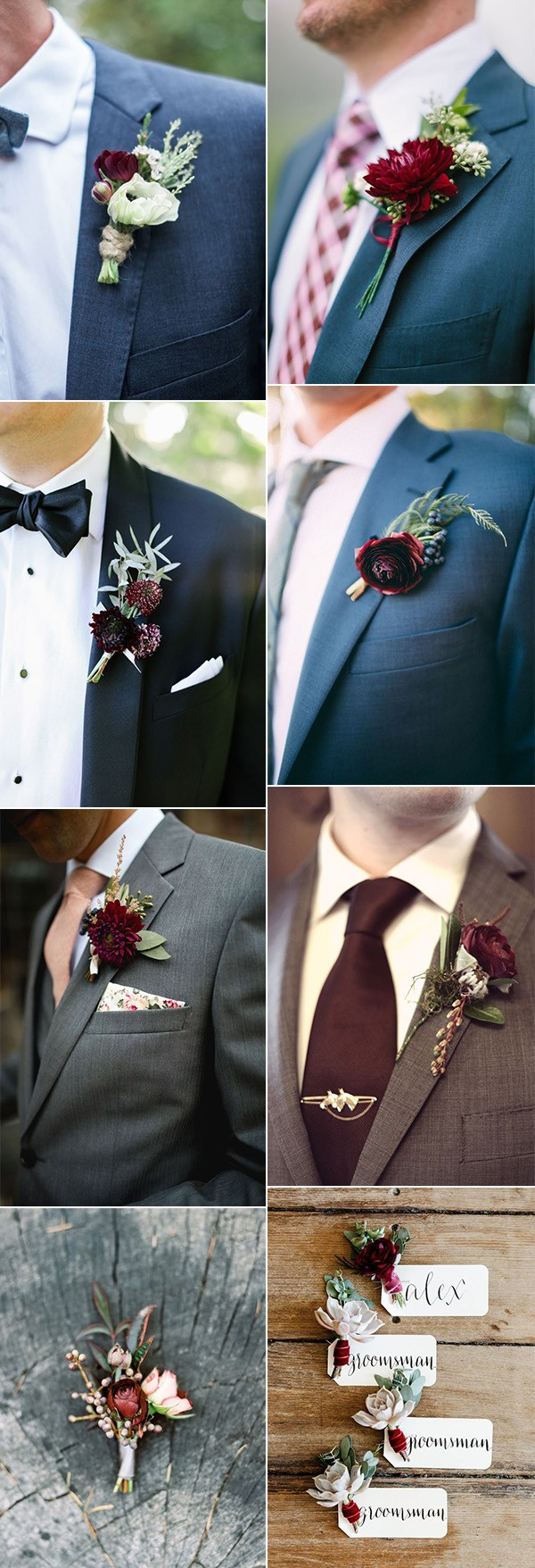 burgundy Wedding Boutonnieres for fall and winter weddings