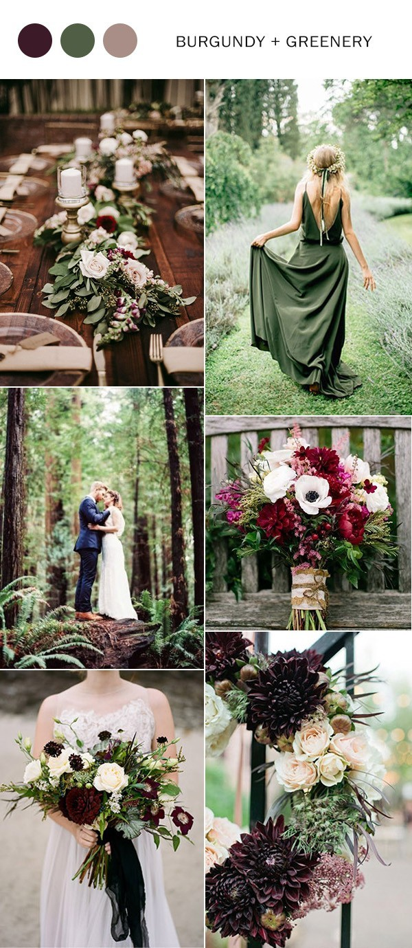 burgundy and green fall wedding color ideas 2018