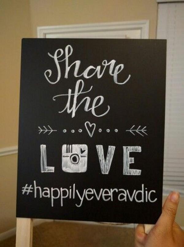 chalkboard instagram wedding hashtag sign