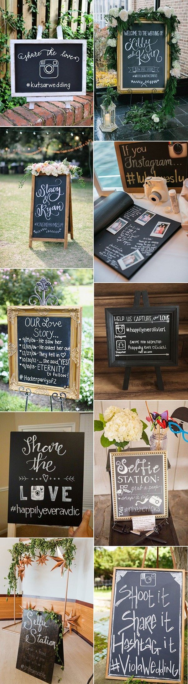 chic chalkboard wedding hashtag sign ideas