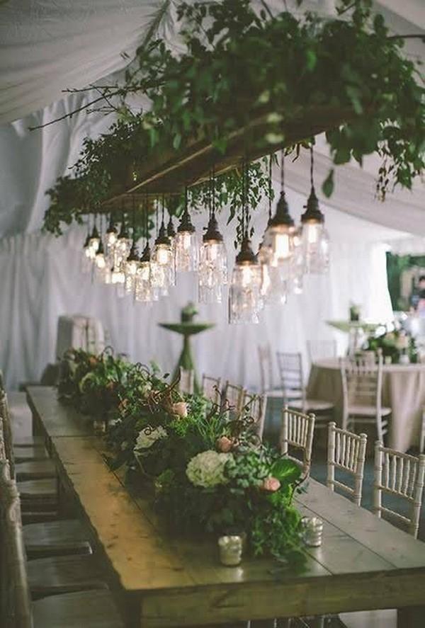 chic hanging greenery wedding decoration ideas
