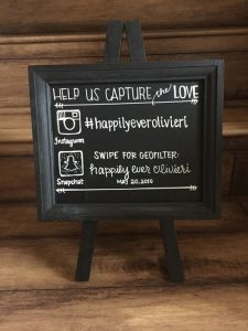 chic instagram and snapchat wedding hashtag sign