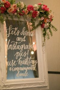 chic vintage mirror wedding sign ideas with hashtag