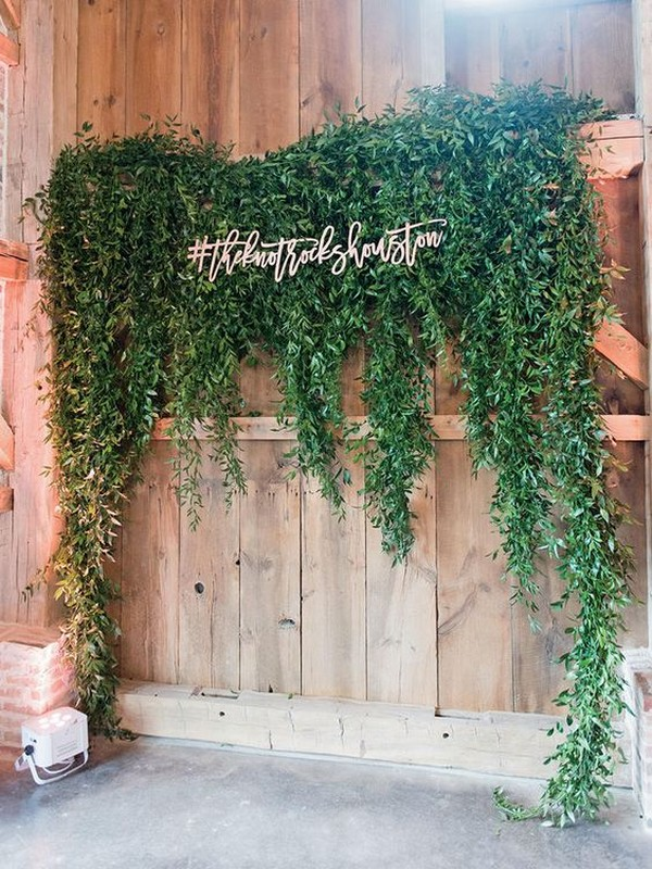 chic wedding backdrop with hashtag