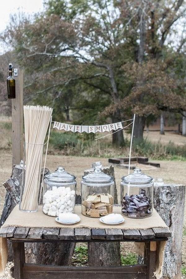 country rustic S'more's Bar outdoor wedding reception ideas