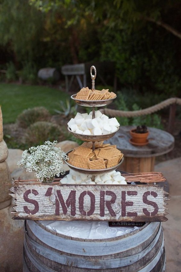 country rustic outdoor S'mores Bar wedding dessert display ideas