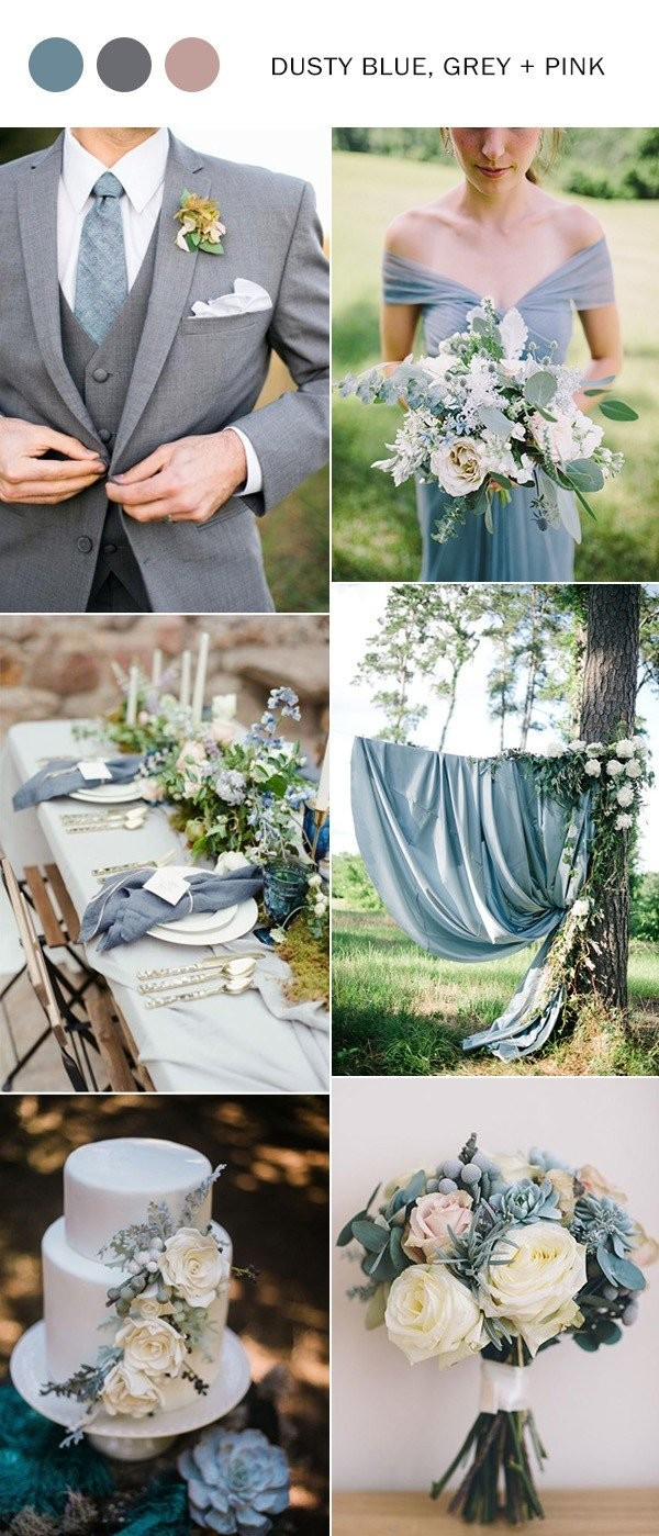 dusty blue and pink wedding color ideas