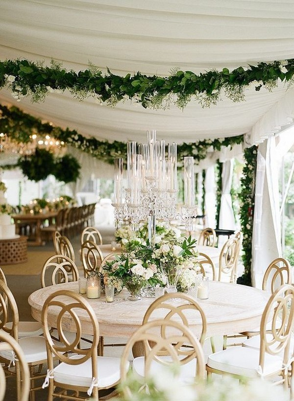 elegant tented wedding reception ideas with hanging floral