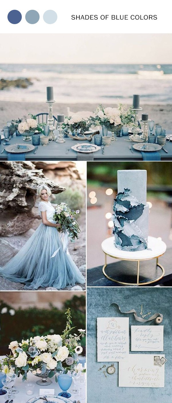 elegant shades of blue wedding color ideas