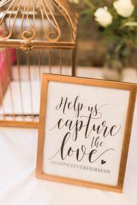 gold vintage wedding hashtag sign ideas