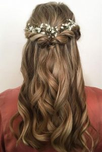half up half down bridal hairstyle with baby's breath 2
