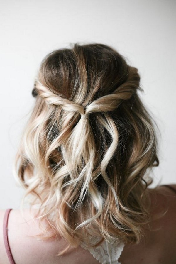 half up half down wedding hairstyle for medium hair