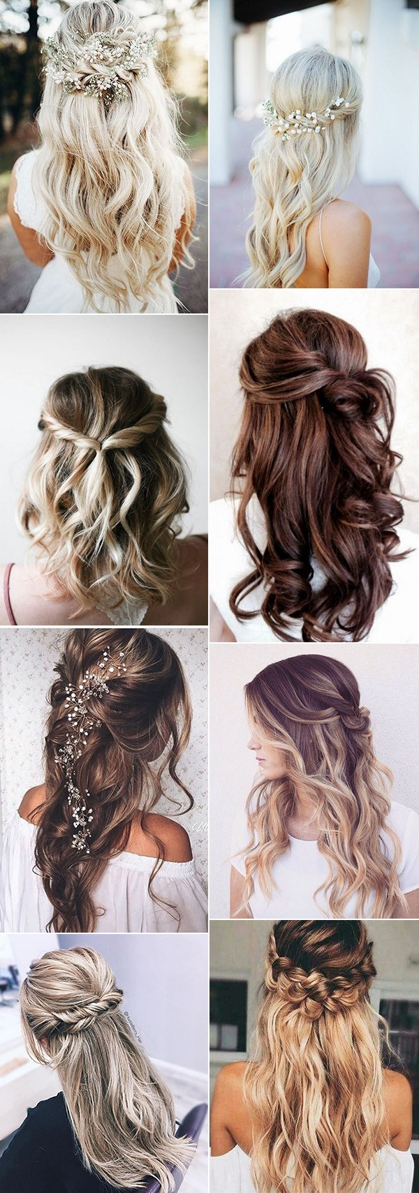 half up half down wedding hairstyles for 2018 and 2019