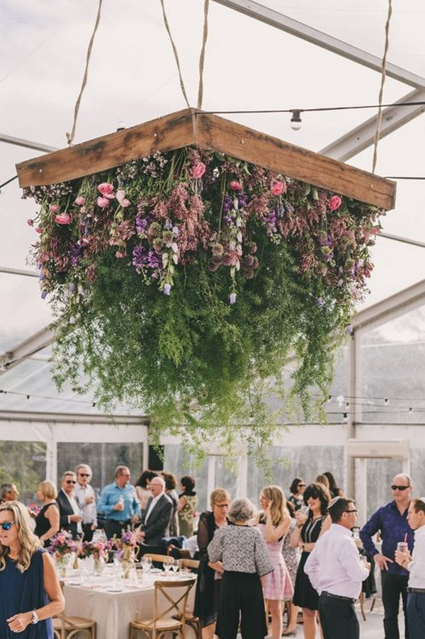 hanging floral installations for tented wedding ideas