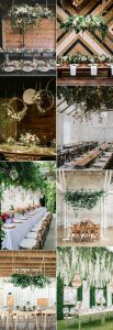 hanging floral installations for wedding reception ideas