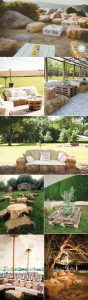 hay bale seating area for outdoor rustic wedding ideas
