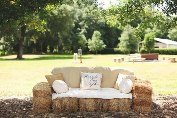 hay bale sofa for rustic outdoor weddings