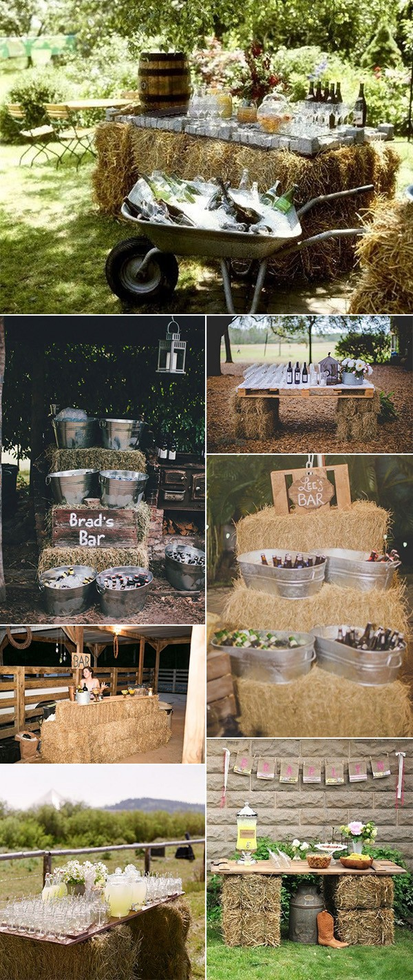 hay bales decoration rustic wedding drink station ideas