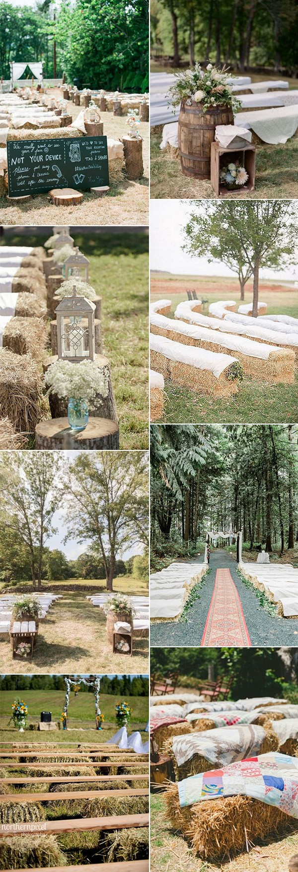 hay bales seating ideas for outdoor rustic weddings