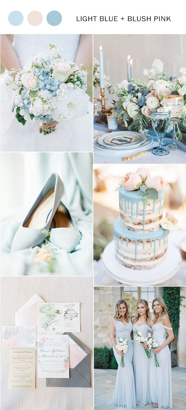 light blue and blush pink elegant wedding color ideas