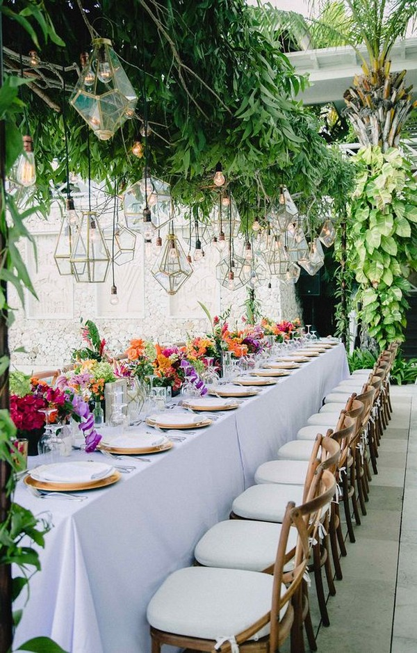 modern hanging greenery and lanterns for wedding reception ideas