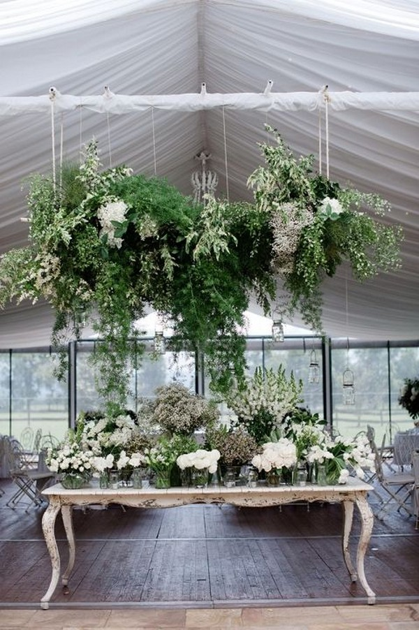 modern wedding decoration ideas with hanging greenery