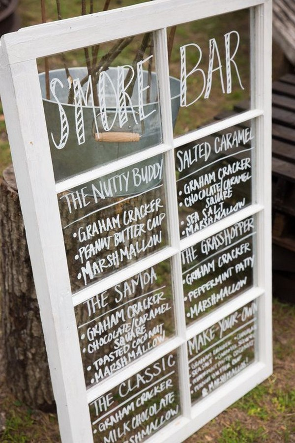 old window S'more bar sign for wedding reception ideas