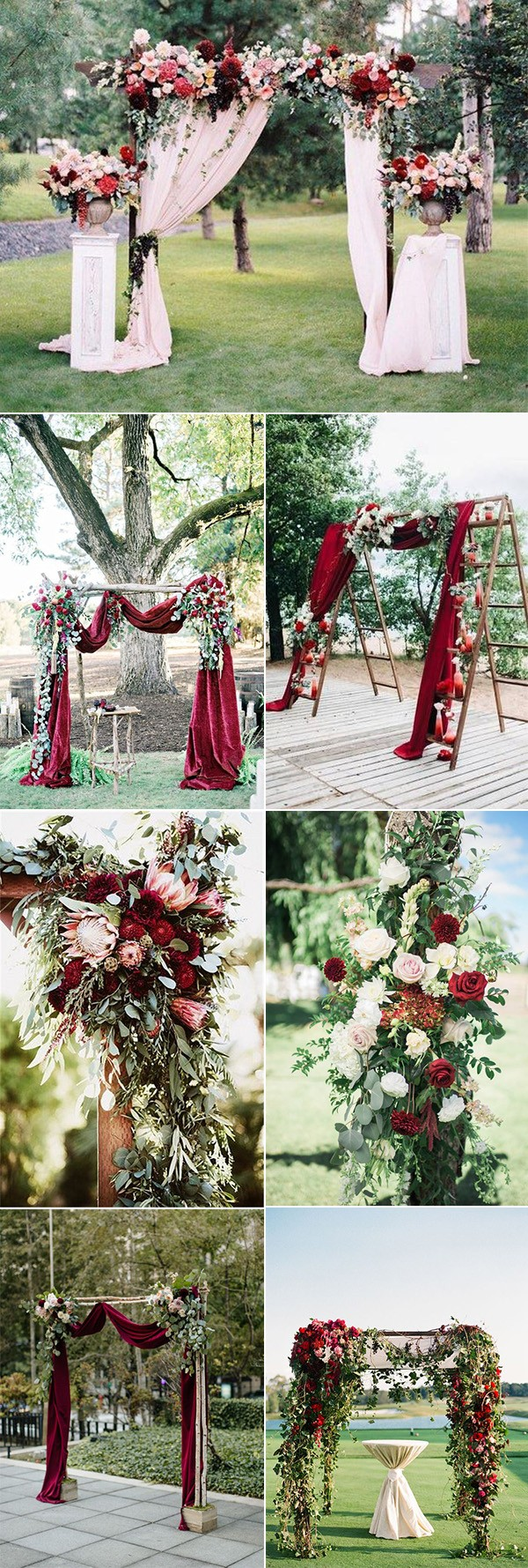 outdoor chic burgundy wedding arch decoration ideas