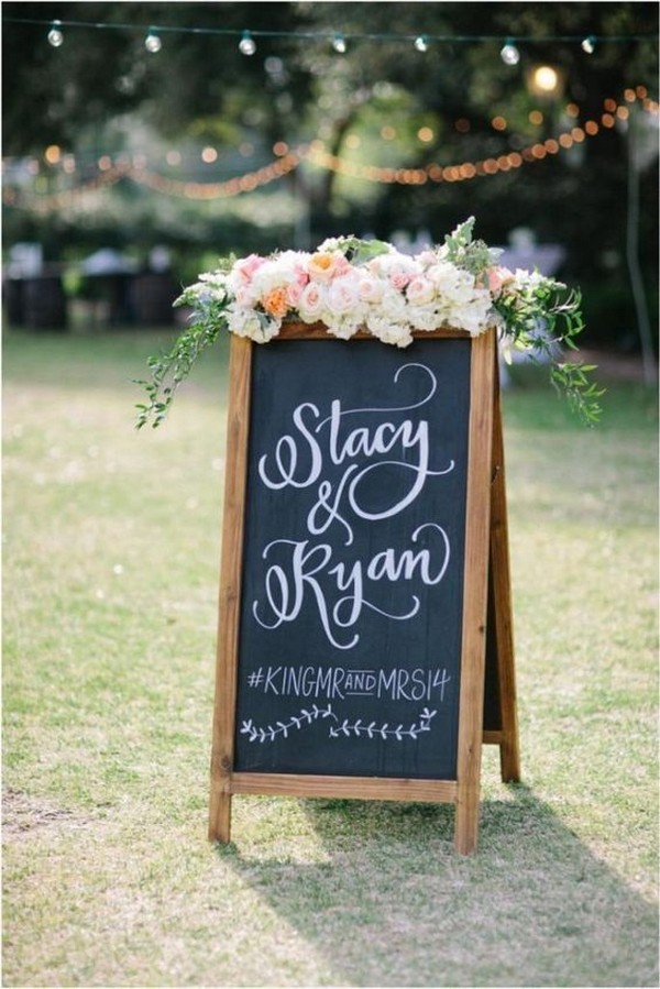 outdoor chic framed chalkboard wedding sign with hashtag