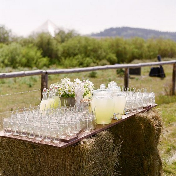 outdoor country rustic wedding hay bale lemonade drink station ideas