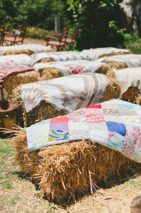 outdoor hay bale wedding ceremony seatings