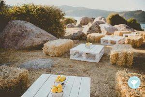 outdoor romantic hay bales wedding seating area