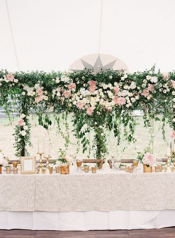 outdoor wedding reception table decoration ideas with hanging floral