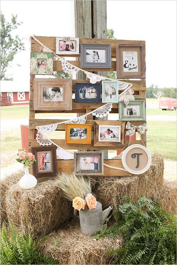 photo display ideas with hay bales for rustic outdoor weddings