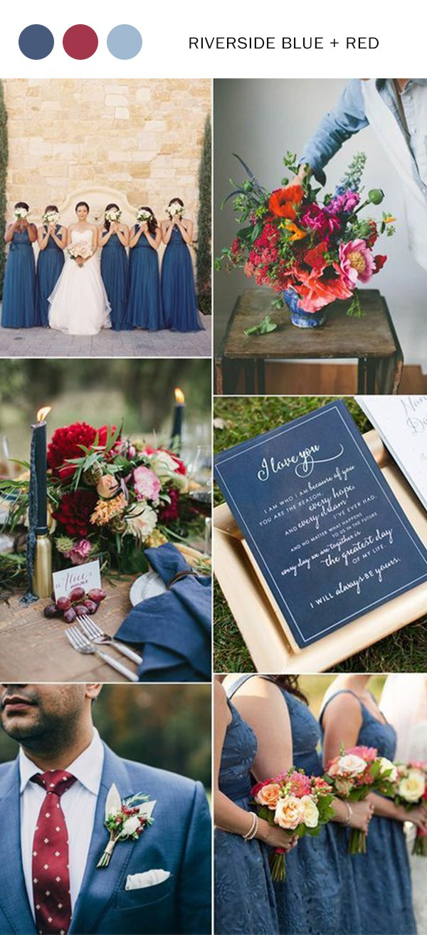 riverside blue and deep red wedding color ideas for fall