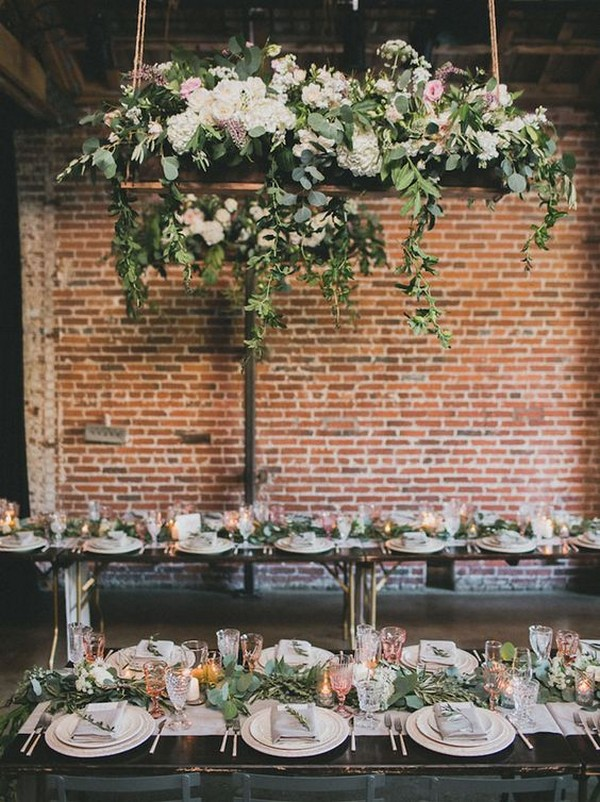 romantic tablescape wedding ideas with hanging floral